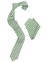 Gingham garden tie and handkerchief combo