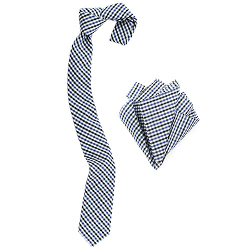 Gingham blues v2 tie and pocket square set