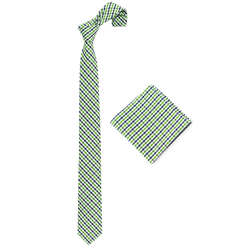 Gingham garden tie and pocket square set
