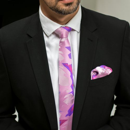 Pink veil tie and pocket square